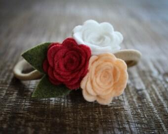 Matilda Felt Flower headband / baby headband / newborn headband / girl headband - Strawberry, Peach and white-