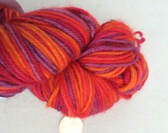 Red, Orange, and Purple Self Striping Sock Yarn Superwash Merino Sport Weight