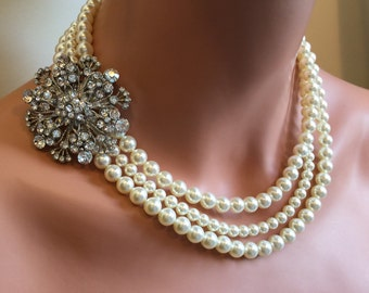 Complete Wedding Jewelry Set Pearl Necklace with Brooch Bracelet and Earrings Swarovski Pearls 3 mutli strands your choice of color bridal