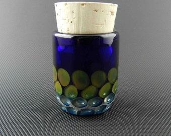 Honeycomb Glass Jar // Hand Blown // Airtight Cobalt Pocket Jar