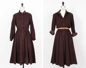 Espresso Corduroy Shirtdress M/L • Brown Button Up Midi Dress • Long Sleeve Dress or Duster • 80s Fit and Flare Dress  | D548
