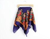 Russian Scarf • Paisley Shawl Scarf •  Babushka Scarf • Royal Blue Floral Scarf • Bohemian Scarf | SC169