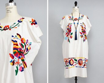 70s Embroidered Floral Dress • White Mexican Dress • White Boho Dress • Folk Dress • White Cotton Dress • Cotton Summer Dress | D564