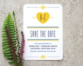 Retro Folksy 'Save the Date' Card / 'Lovestruck' Scandi Mid-Century Modern Wedding / Yellow and Blue / Custom Colours Available / ONE SAMPLE