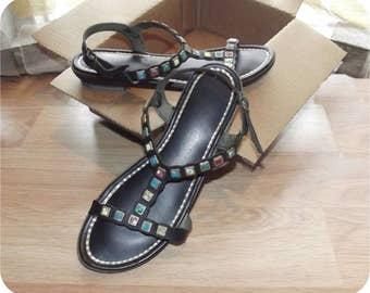 Vintage 60s T-Strap Sandals | 1960s Black Sandals | Stone Embellished | Black Shoes | Size 6