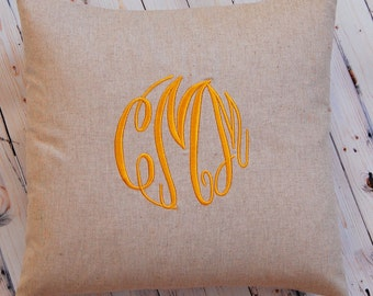 Monogram Pillow, Throw Pillow Cover, Decorative Throw Pillow Cover, Linen , Personalized Home Decor,  All Sizes, Monogrammed Gift