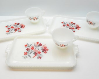 Vintage Snack Set , Floral  Square  Milk Glass Snack Plates with Cups