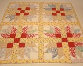 Cheerful Yellow and Red Star and Cross Design Feed Sack Vintage Quilt Piece - 30 by 30 Inches