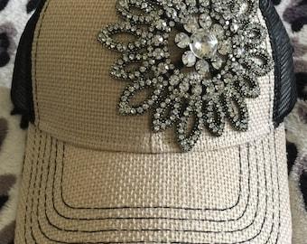 Trucker hat, womens trucker hat, burlap trucker cap, womens bling trucker hat, bling trucker hat, womens baseball cap, bling hat, cap