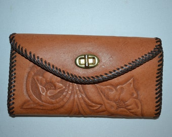 Vintage Tan Leather Hand Tooled Wallet