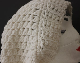 "Knitted ""White"" Beanie, Slouchy Head Accessory,  Boho-chic  ***FREE SHIPPING (USA address only)  ***"