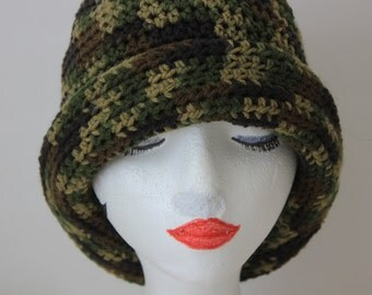 "Knitted ""Camouflage"" Beanie, Slouchy Head Accessory, Boho-chic*** FREE SHIPPING ( USA address only)  ***"