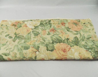 7 Yards Covington Floral Upholstry Fabric, Pastels, Pink Mind Green, Roses 1990s