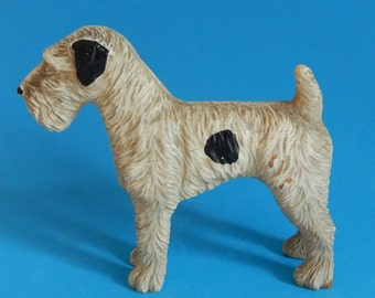 Vintage Airedale Terrier Dog Figurine, Circa 1940s, Unknown Faux Wood Composite