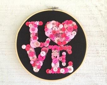 Button Wall Art / Button Love / Button Art / Cute As A Button