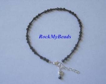 Black Crystal Ankle Bracelet - Anklet, ankle jewelry, leg jewelry, crystal , crystal anklet, crystal ankle bracelet