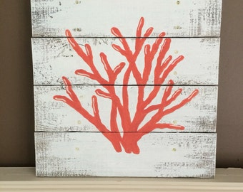 Coral painting on repurposed pallet wood painted white