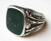 Vintage Art Deco Mens Fine Bloodstone 800 Silver Ring size 10