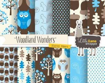 50% Off - Woodland Forest Digital Papers, Woodland Scrapbook Paper, Blue Owl Acorn Squirrel Patterns, INSTANT DOWNLOAD, Commercial Use