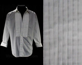XL Men's 1960s Tuxedo Shirt - Sophisticated 50s 60s Mens White Tux Formal Wear - Manhattan Label - Wearable with Studs - Chest 50 - 47243