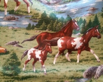 Running Horses Fabric 1 2/3 Yards Novelty Print Cotton X0591