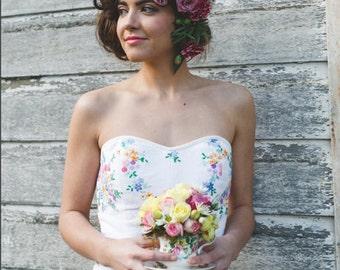 SAMPLE SALE Vintage cotton embroidered wedding corset S M