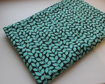 Cotton print fabric Blue leaves