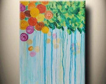 Spring, flowers,tree of life  - large original painting, abstract,textured, 40x30inch, ready to hang