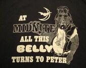 Vintage At Midnight this Belly Turns To Peter Harley Davidson Motorcycle Pocket Print Biker Miller's Custom Parts Florida T shirt XL
