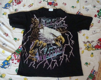Vintage American Thunder Feel The Wind Eagle Motorcycle Biker Lightning Bolts punk rock hipster Heavy Metal T Shirt L