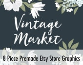 Premade Customized Etsy Shop Graphics- Banner, Shop Icon, Shop Profile, Custom Listing - Gray & White Flowers