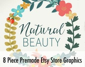 Premade Customized Etsy Shop Graphics- Banner, Shop Icon, Shop Profile, Custom Listing - Ornamenal Flowers, Green, Natural, Wreath
