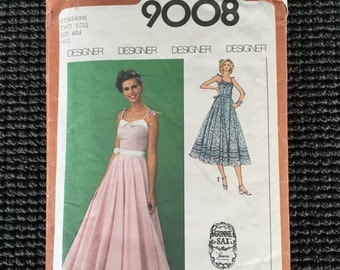Simplicity 9008 Misses Dress Sewing Pattern Gunne Sax Prom Evening Dress Size 6 - 8 UNCUT