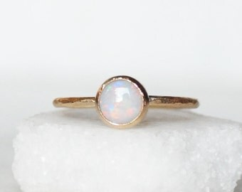 Opal Ring - 14k Gold 6mm Opal Ring - Skinny Gold Band
