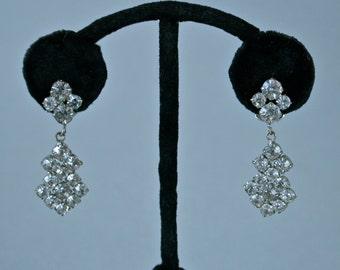 Czech Earrings Rhinestone Dangle Wedding Prom Clip Ons 1950s