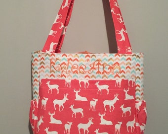 Coral deer & arrows mint gold  fabric Diaper Bag with Free Monogram