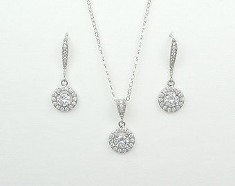 Bridal Cubic Zirconia Jewelry Set, Earrings, Necklace, Sterling Silver Chain and Clasp, Tina Set - Ships in 1-3 Business Days