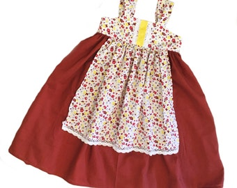 Girls Fall Apron Knot Dress Brown and Floral with White Cluny Lace