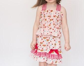 Girls Set Halter Tube Top and Ruffled Shorts Picnic Red White Gingham Infant Toddler