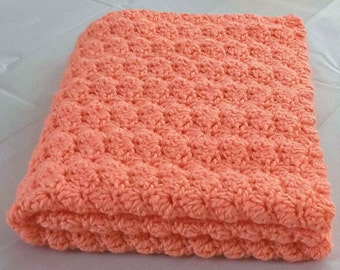 Crochet Baby Blanket Crochet Peach Baby Blanket Crochet Shell Blanket Stroller Blanket Car Seat Blanket Travel Blanket READY TO SHIP