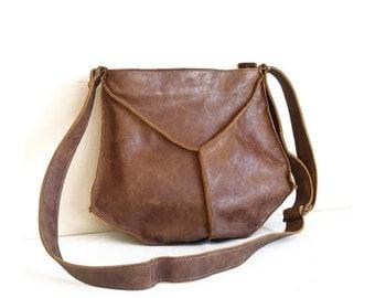25% OFF, Sale Leather Messenger bag, crossbody bag in brown, Small leather crossbody bag, Leather purse crossbody for women, brown leather p