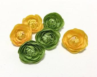 Mini Ranunculus Flowers - Yellow, Green - Artificial Flowers, Silk Flowers, Wedding, Flower Crown