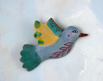 Ceramic Wall Bird, Hand Made Pottery Bird by Cathy Kiffney