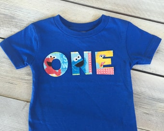 Boy 1st/First Birthday Sesame Street Inspired ONE Iron On Applique
