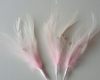 3 x Pink Feather Sprig With 3 diamantes