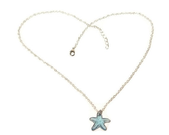 Aquamarine swarovski starfish pendant with silver chain aloadofball Image collections