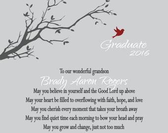Graduation Gift for Him-Graduation Gift for Her-Graduation 2016-Personalized Graduation Print-My Wish for You Poem
