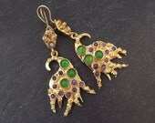 Dangly Purple Emerald Green Turkish Ethnic Earrings - Gold Plated Brass