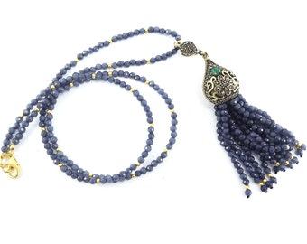 Ethnic Turkish Tassel Necklace Smoky Denim Blue Facet Jade Gemstone Statement Gypsy Hippie Bohemian Artisan - One Of A Kind
