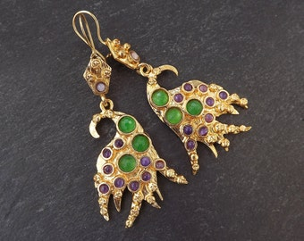 Dangly Purple Emerald Green Turkish Ethnic Earrings - Gold Plated Brass